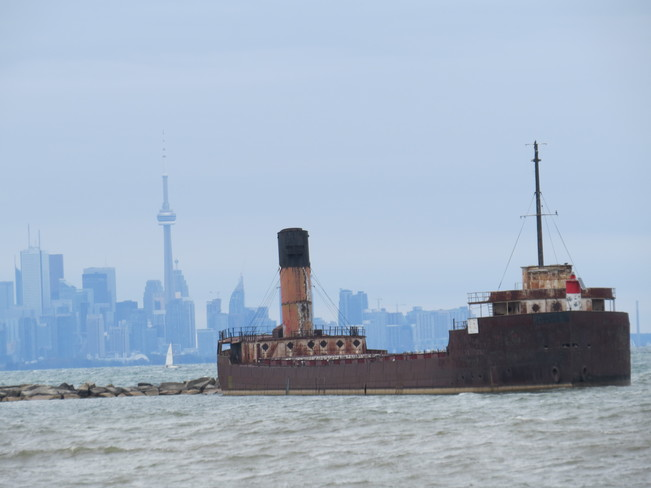 Shipwreck and a view of the CN Tower - Toronto Mississauga, Ontario Canada