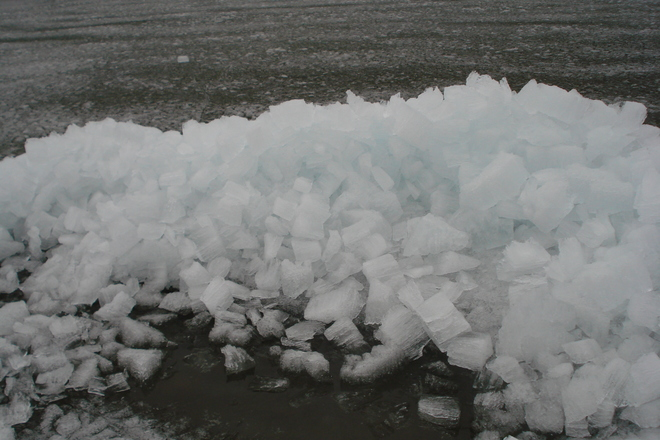 Ice wasing up on shore Wawa, Ontario Canada