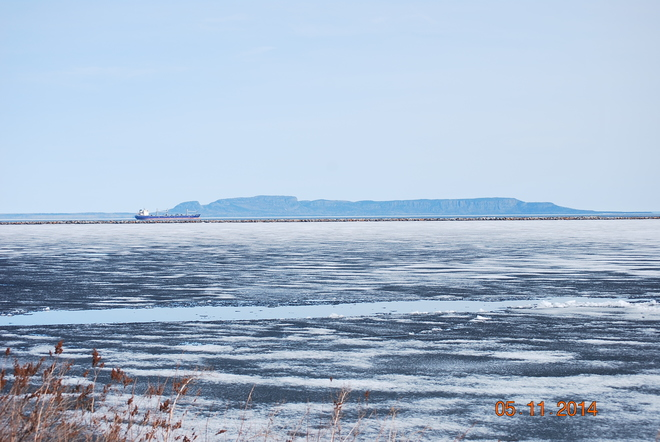 ship in front of the sleeping giant Marina Park, Thunder Bay, ON