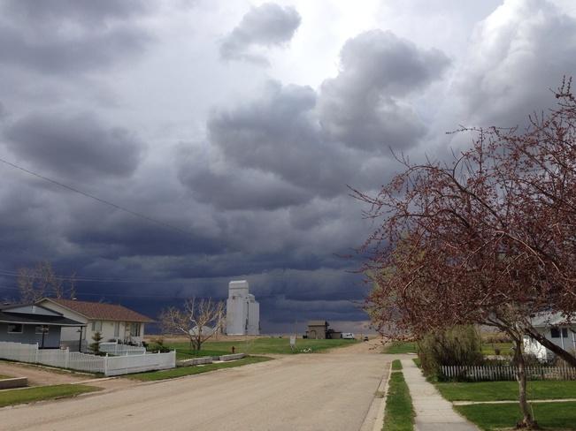 incoming storm Hussar, Alberta Canada