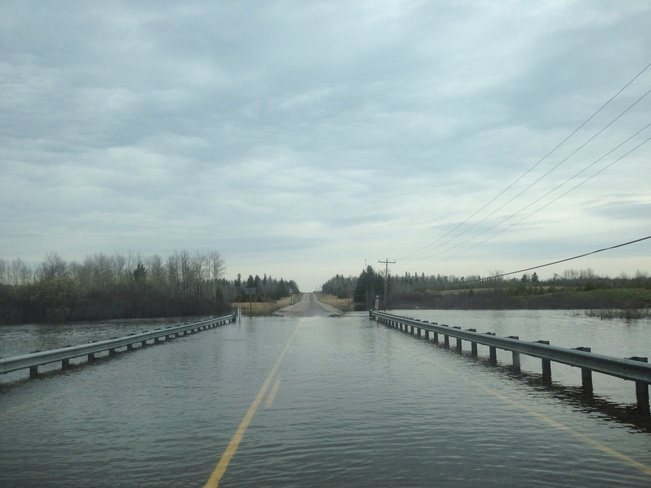 Flooding over highway 105 Red Lake Road, Ontario Canada