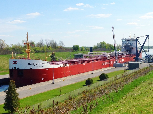 ship at the locks Iroquois, Ontario Canada