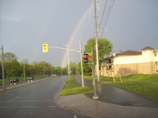 Rainbow last Night over the City of belleville