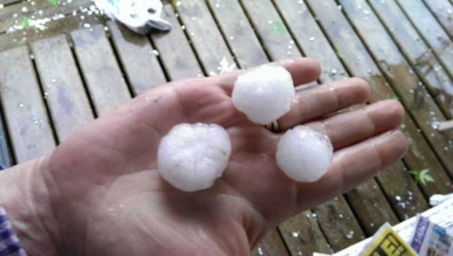 Hail at our trailer! Mohawk Bay Trailer Park, Deseronto, ON