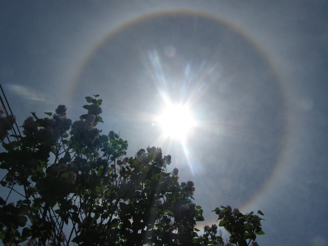 Halo around sun on a beautiful sunny day in Montreal Anjou, Montreal, QC