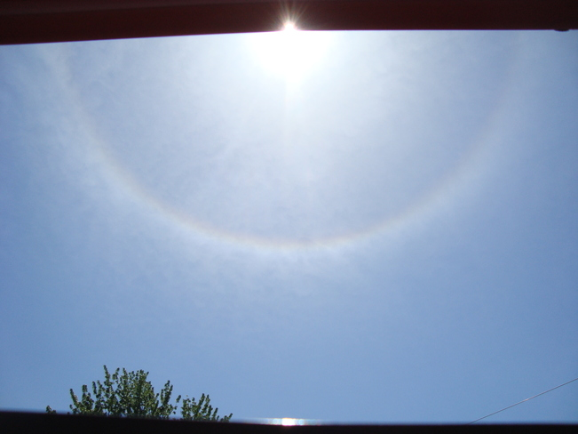 Circular rainbow (Corona) around the sun Pierrefonds, Montreal, QC