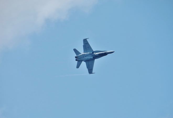 CF-18 action on a windy day in the 'Bay'. North Bay, ON
