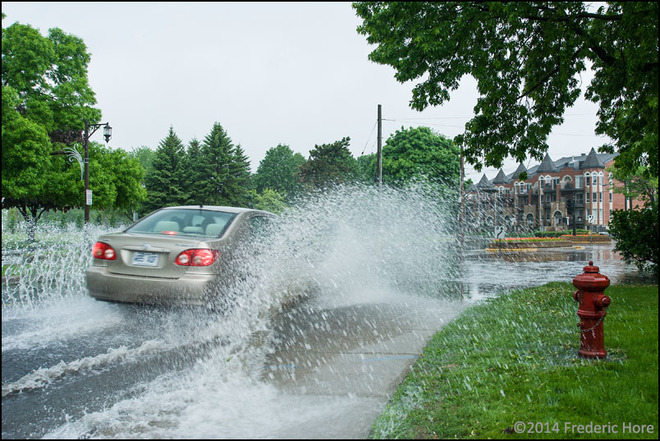 Severe Montreal storm turns roads into rivers and lakes in flash flooding 4450 Boulevard Saint Joseph, Lachine, QC H8T, Canada