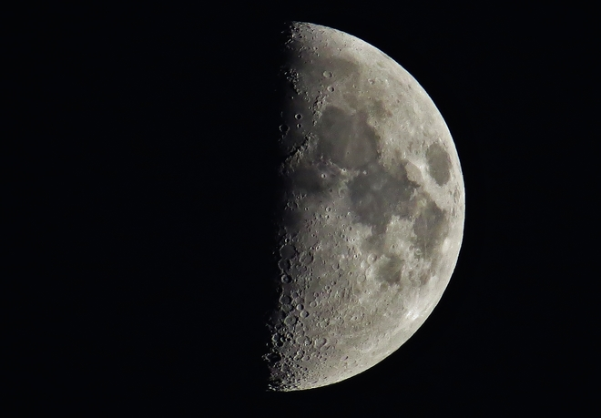 First Quarter Moon on first clear night. North Bay, ON