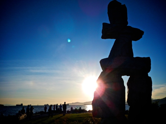Vancouver Inukshuk Inuit Maritime Monument Spring Sunset Inukshuk, Beach Avenue, Vancouver, BC