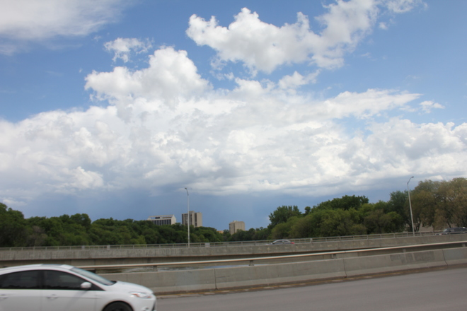 A passing frontal system through Winnipeg, photographed from the Maryland Bridge Winnipeg, MB