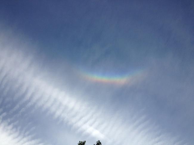 clear sky rainbow Lacombe, Alberta Canada