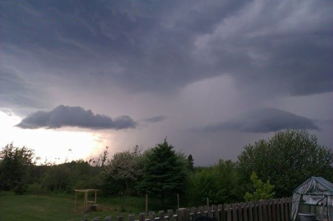I just got home ahead of the storm. It's 7:34 and the rain has begun. Sackville, New Brunswick
