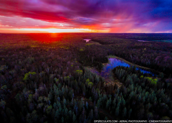 Aerial views of just after the storm in the twilight. Colors were fantastic !!! Sundridge, ON