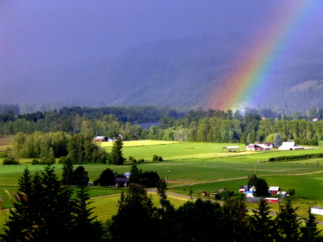 Father's Day rainstorm and rainbow Enderby, BC
