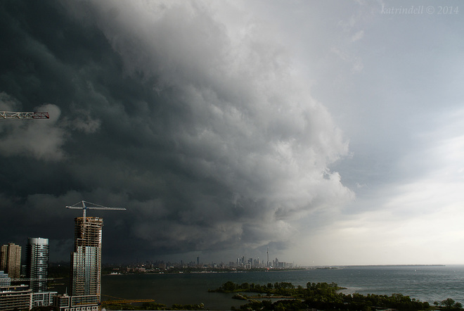Storm clouds over Toronto Humber Bay Park East Trail, Toronto, ON, Canada
