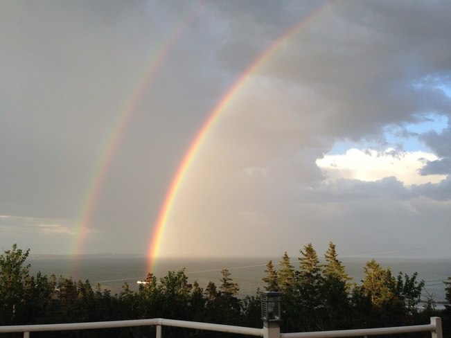 Twin rainbows over Cow Bay! Eastern Passage, Nova Scotia Canada