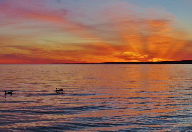 Calm, colourful June sunset. 414 Lakeshore Drive, North Bay, ON P1A, Canada