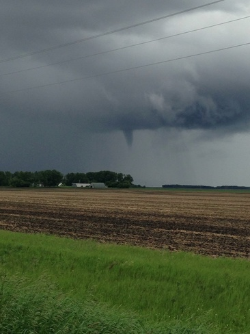 Funnel Cloud East of Souris Souris, Manitoba Canada