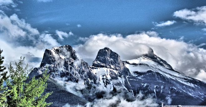 The Three Sisters in June Canmore, AB