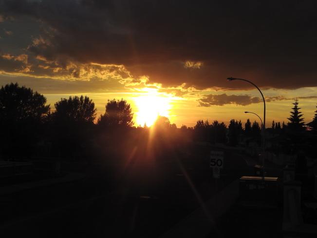 Spectacular Sunset with big cloud with colour Edmonton, Alberta Canada