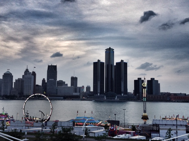 Detroit skyline from Ceasars Windsor, Ontario Canada