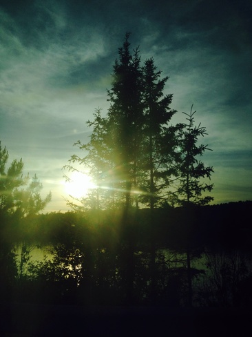sun down on the lake Temagami, Ontario Canada