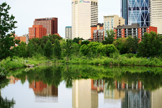 Colors and reflections.Princes Island park calgary ab