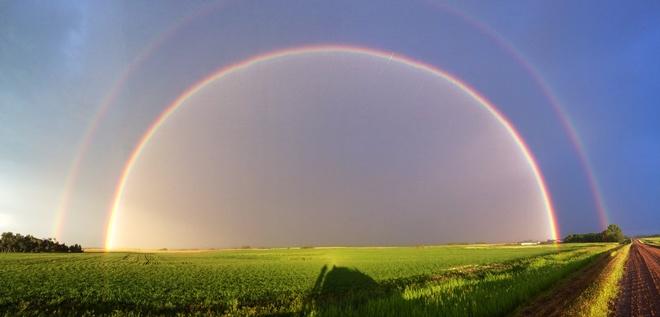 Full Double Rainbow Hague, Saskatchewan Canada