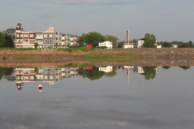 Wolfville Waterfront upside down on the Weekend. Old Dyke Lane, Wolfville, NS, Canada