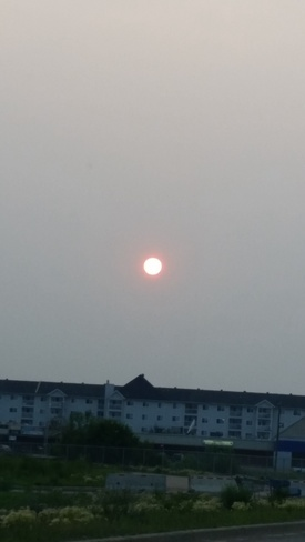 orange sun Fort McMurray, Alberta Canada