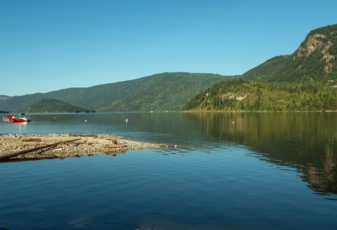 Mara Lake fine July day Waterway Houseboats Ltd, Mervyn Road, Sicamous, BC