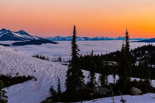 sunrise up in the summit Revelstoke, BC