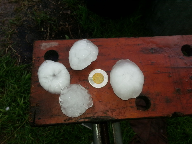 Golf ball sized hail Alida Sask July 10 2014 7:15 pm ( course language) Alida, SK