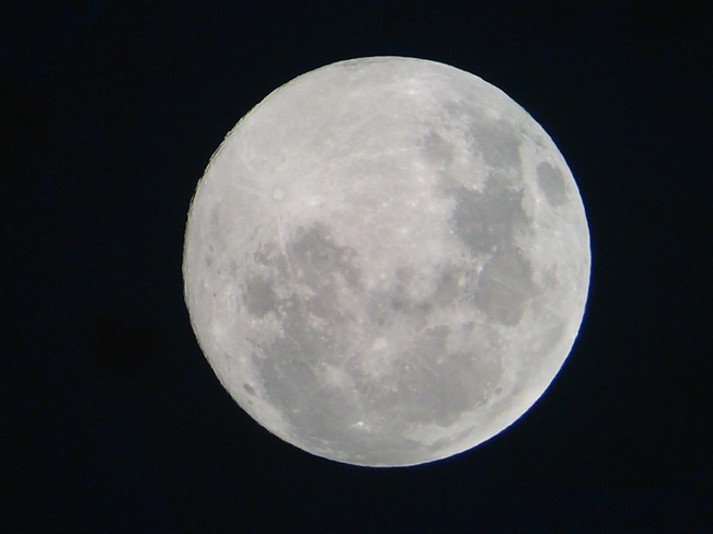 The supermoon ( just a few hours from full ) Doug and Ronnies back yard! Regina, SK