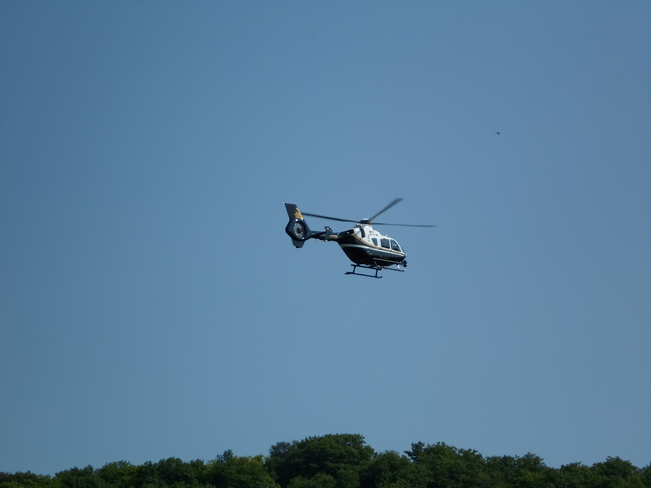 Helicopter Flying over out Subdivision today in Elliot Lake Elliot Lake, Ontario Canada