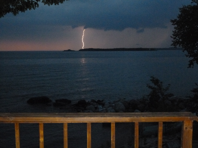 Lightning over Christian Island Lafontaine,ON, or more accurately, Conc.19N in Tiny Twp., near the Sandy Beach parkette