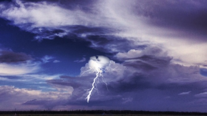 Awesome clouds, and. lightning Fort Mackay, Alberta Canada