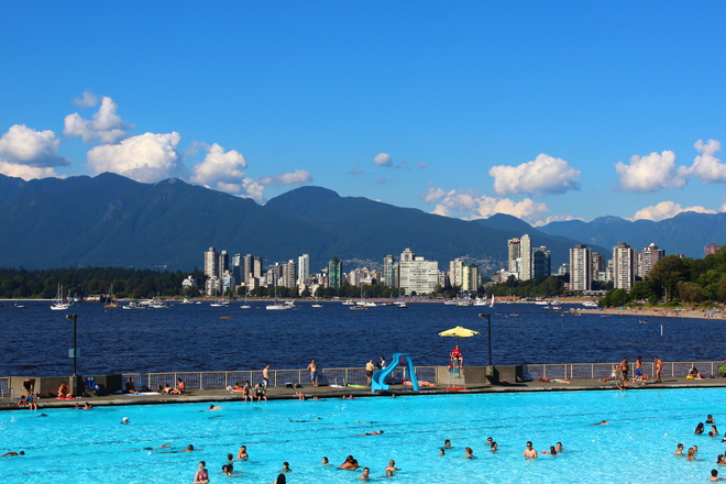 Perfect weather and picturesque view of Kitsilano pool and beach.. Vancouver, BC