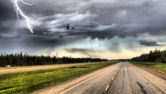 Heading into a thunder storm. Fort McMurray, Alberta Canada