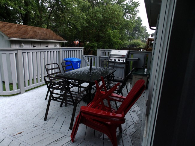 Afternoon Hail On the Deck. Chippawa, Niagara Falls, ON
