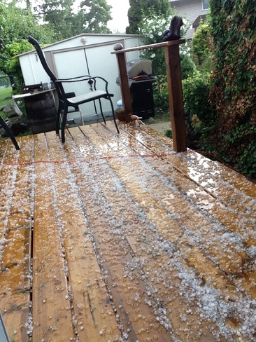 Hail on my deck Thorold ON