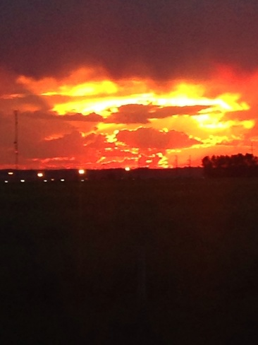 red sky at night Airdrie, Alberta Canada