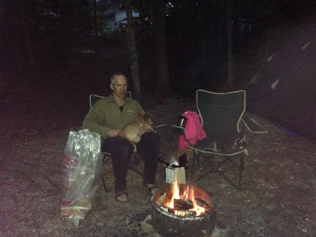 Sitting at the campfire Northeastern Manitoulin and The Islands, Ontario Canada