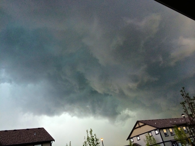 Hail clouds coming into Airdrie yesterday evening around 8:30pm Airdrie, AB