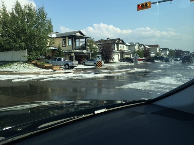 1 hour after the first hail storm in Airdrie Airdrie, AB