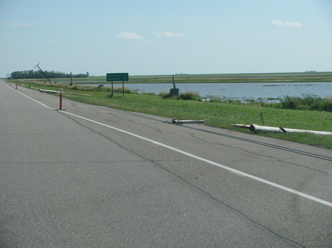 Highway 6 South of Regina and town of Rouleau AKA Dog River in Corner Gas Rouleau, SK