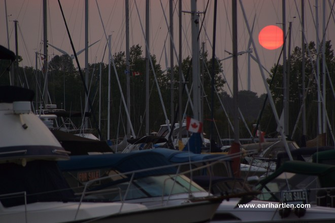 Blood Red Sun Port Dover, Ontario Canada