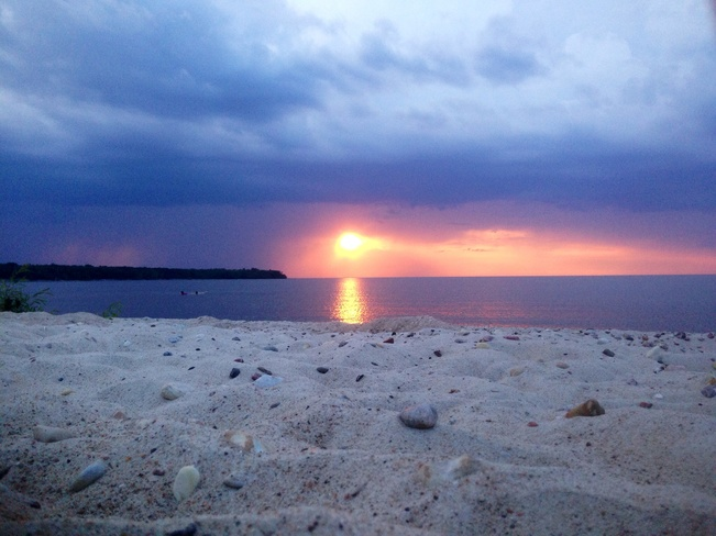 sunset and T storm Hillside Beach, Manitoba Canada