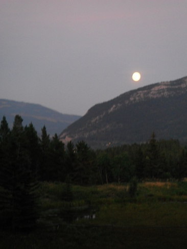 full moon over Turtle Mountain Crowsnest Pass Blairmore, Crowsnest Pass, Alberta